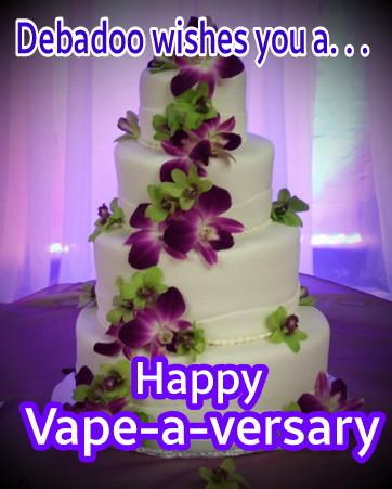 Vape versary  purple pansies on white stacked cake.jpg